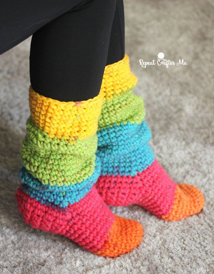 Caron Chunky Cakes Slouchy Slipper Socks | Crochet ideas | Pinterest ...