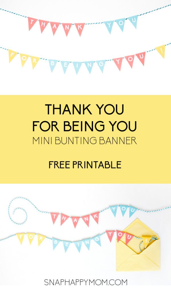 photograph relating to Thank You Banner Printable identify Thank Oneself Mini Bunting Banner [Totally free Printable] Present Strategies