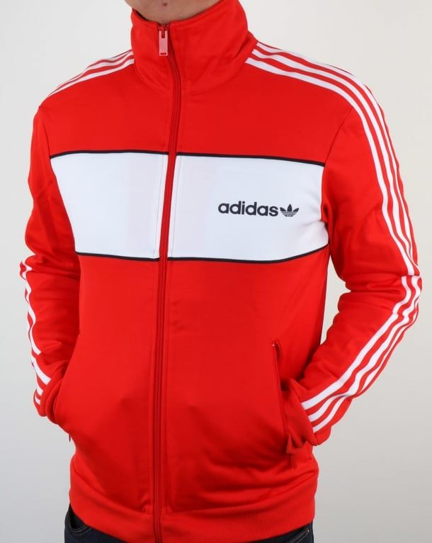 1a0fdd348d09 Adidas Originals Block Track Top Core Red