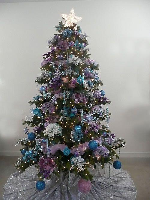 Silver Christmas Decorations Purple Trees Teal Tress Xmas Tree