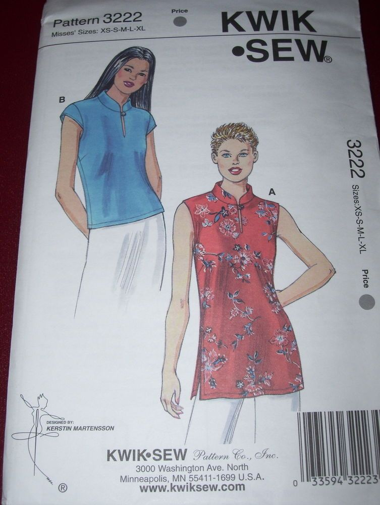 KWIK SEW #3222 - LADIES ORIENTAL INFLUENCED ( 2 STYLE ) TOP PATTERN ...
