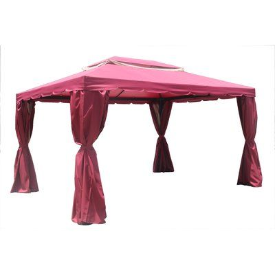 W X 13 Ft D Aluminum Garden Party Canopy Permanent Gazebo By Direct Wicker Wine Red Size 10