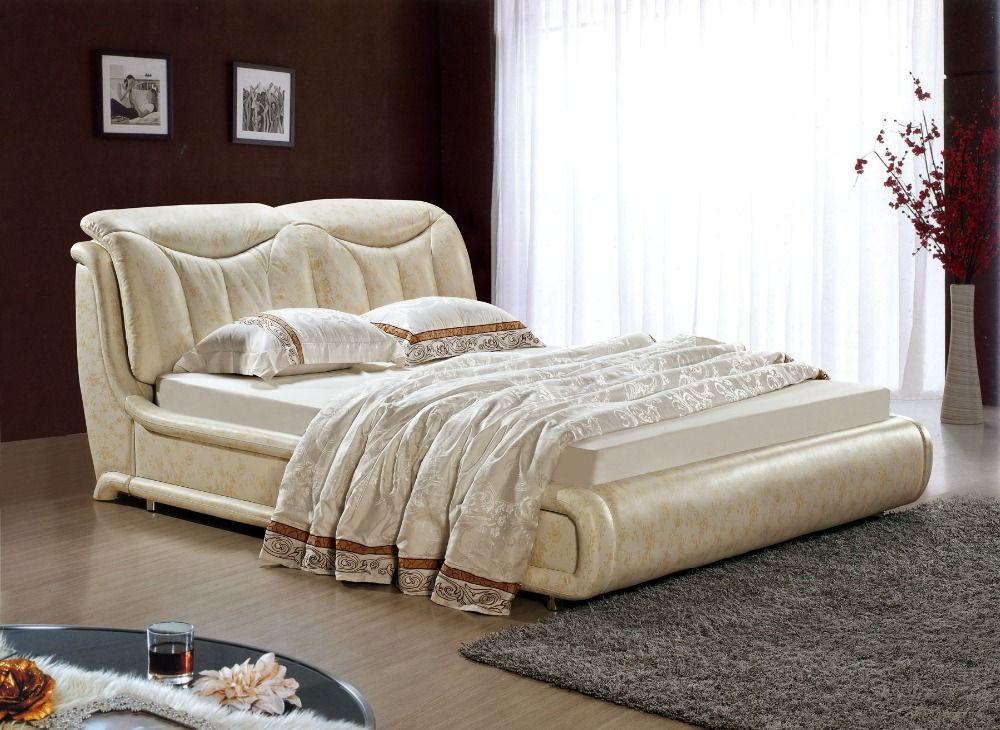 Diseño moderno de cuero verdadero genuino suave / cama doble tamaño ...