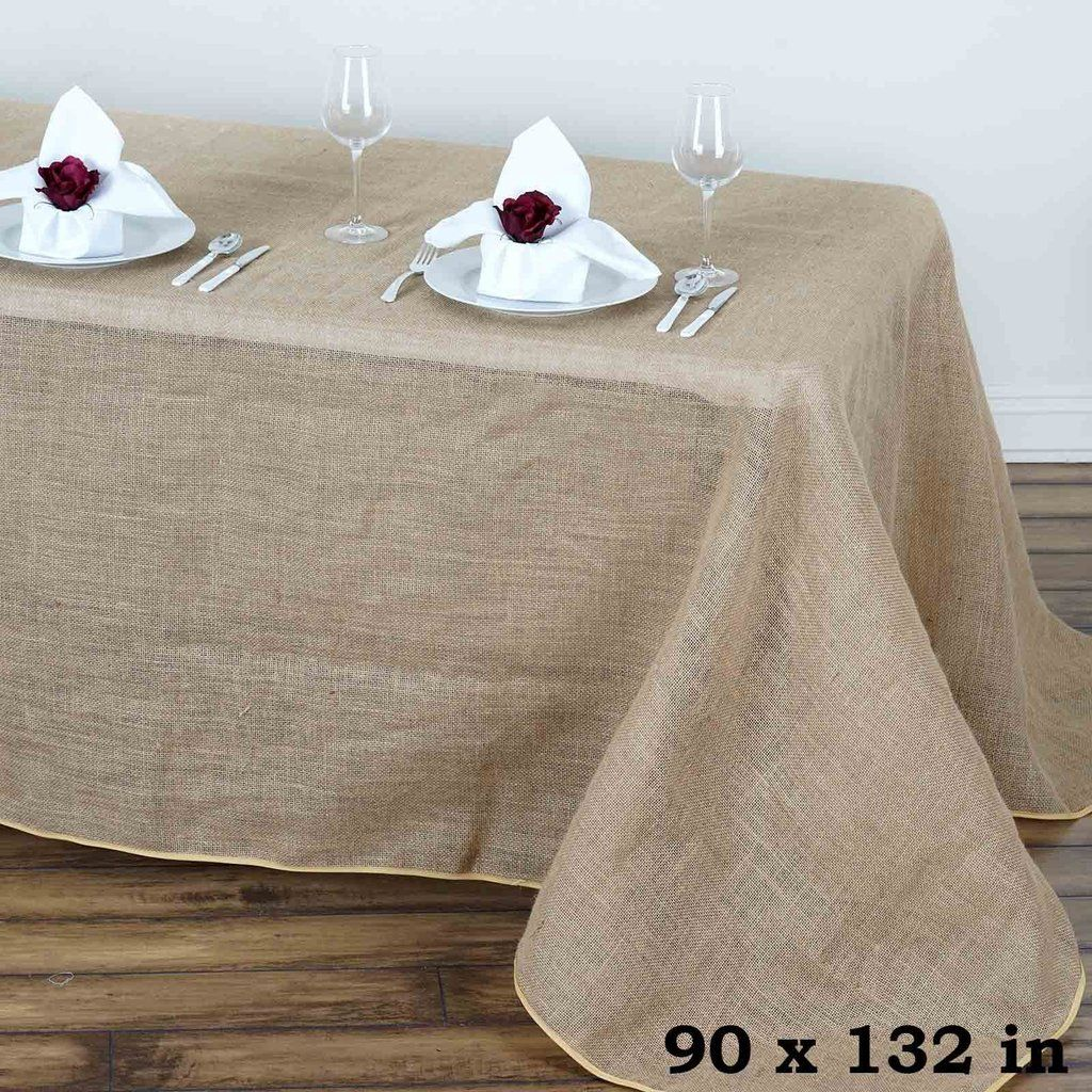 Buy Jute Table Decorations And Chair Decorations At Wholesale Prices From Tablecloths Factory Com Decorate Rectangle Tablecloth Burlap Tablecloth Table Cloth