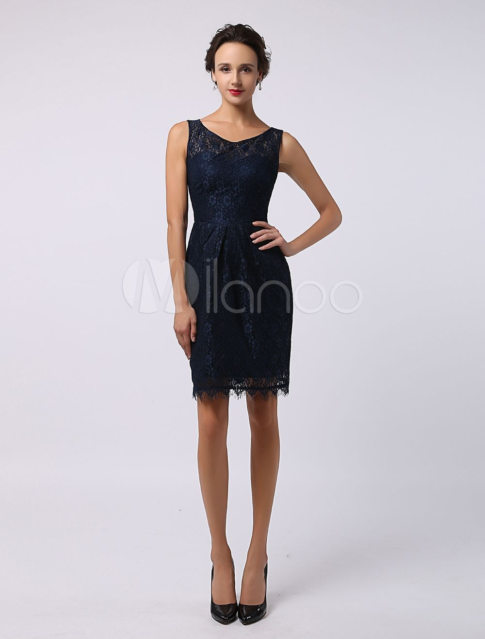 sweetheart knee-length lace bridesmaid dress wedding guest