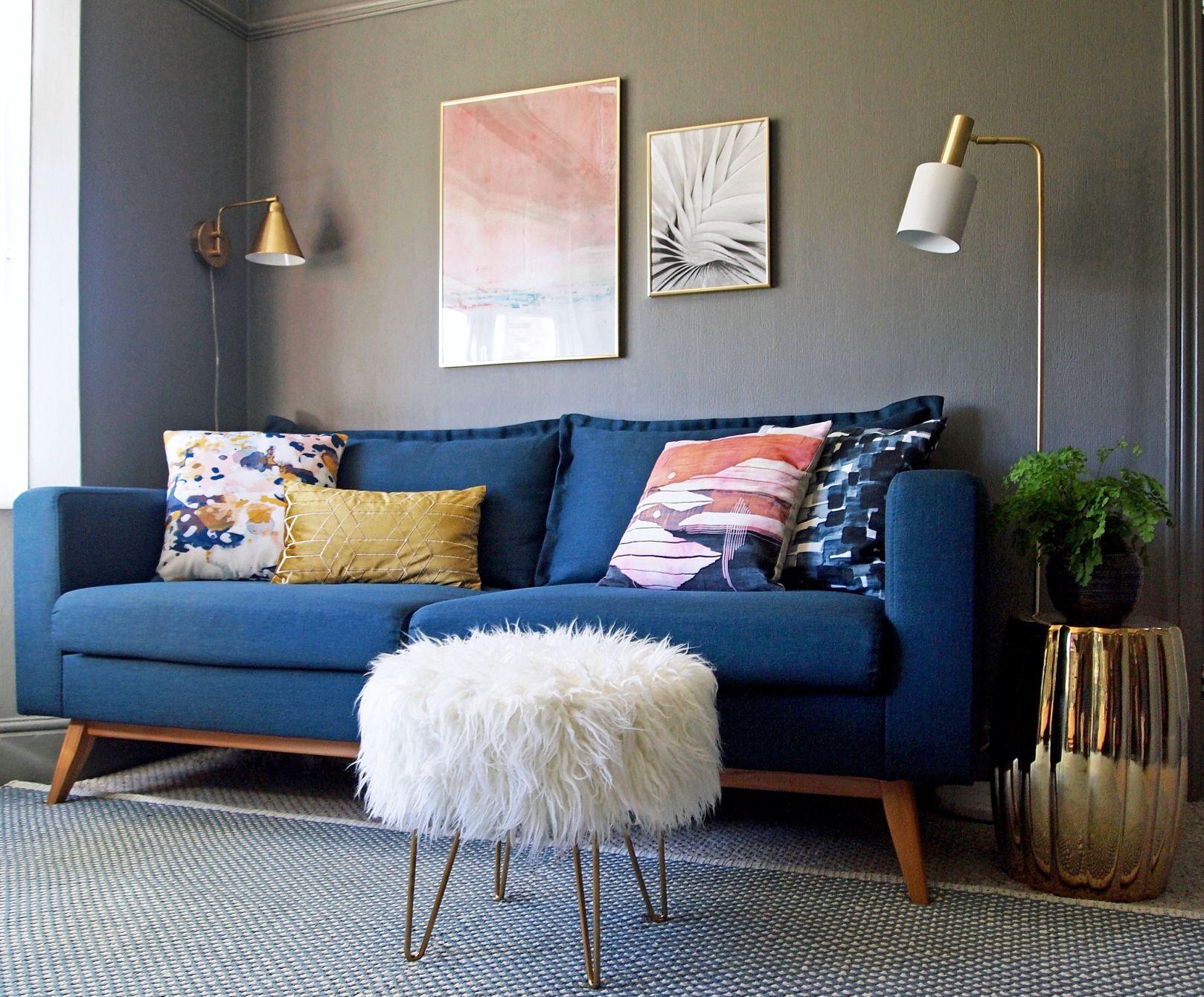 Revamp Restyle Reveal My Living Room Reveal First Sense Interiors Blue Sofas Living Room Blue Sofa Living Living Room Decor Colors