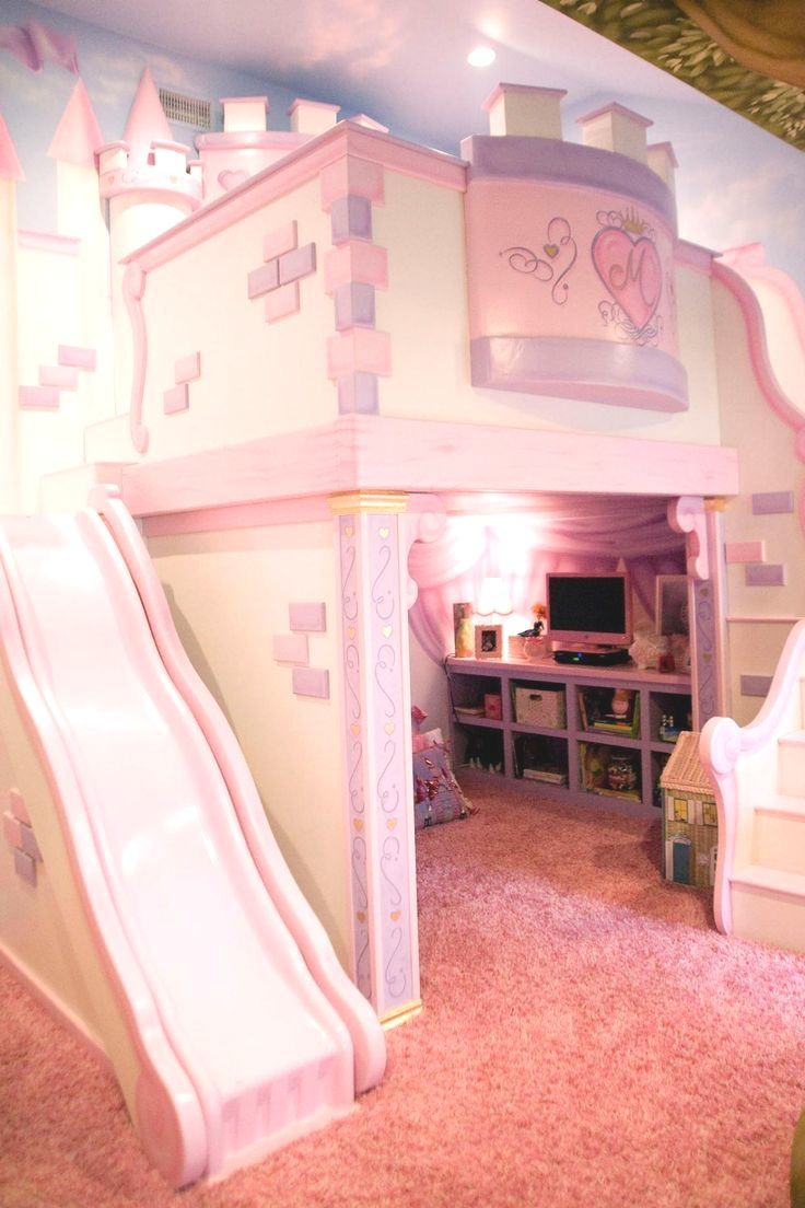 plush design little girl room. This playful pink bedroom is any little princess s dream  The custom castle features a cozy loft bed nestled within fortress walls and slide down to the beautiful playroom in one room with