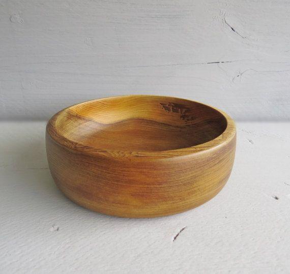 Amazing Vintage Beautifully Grained Wooden Bowl   Turned Wood Bowl   Vintage  Hardwood Home Decor Bowl   Design Ideas