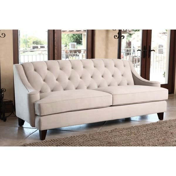 ABBYSON LIVING Claridge Beige Velvet Fabric Tufted Sofa   Overstock  Shopping   Great Deals On Abbyson Living Sofas U0026 Loveseats