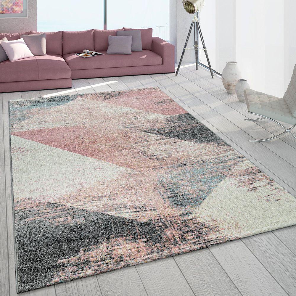 Teppich Wohnzimmer Grau Weiß Rosa Pastell Dreieck Muster Vintage