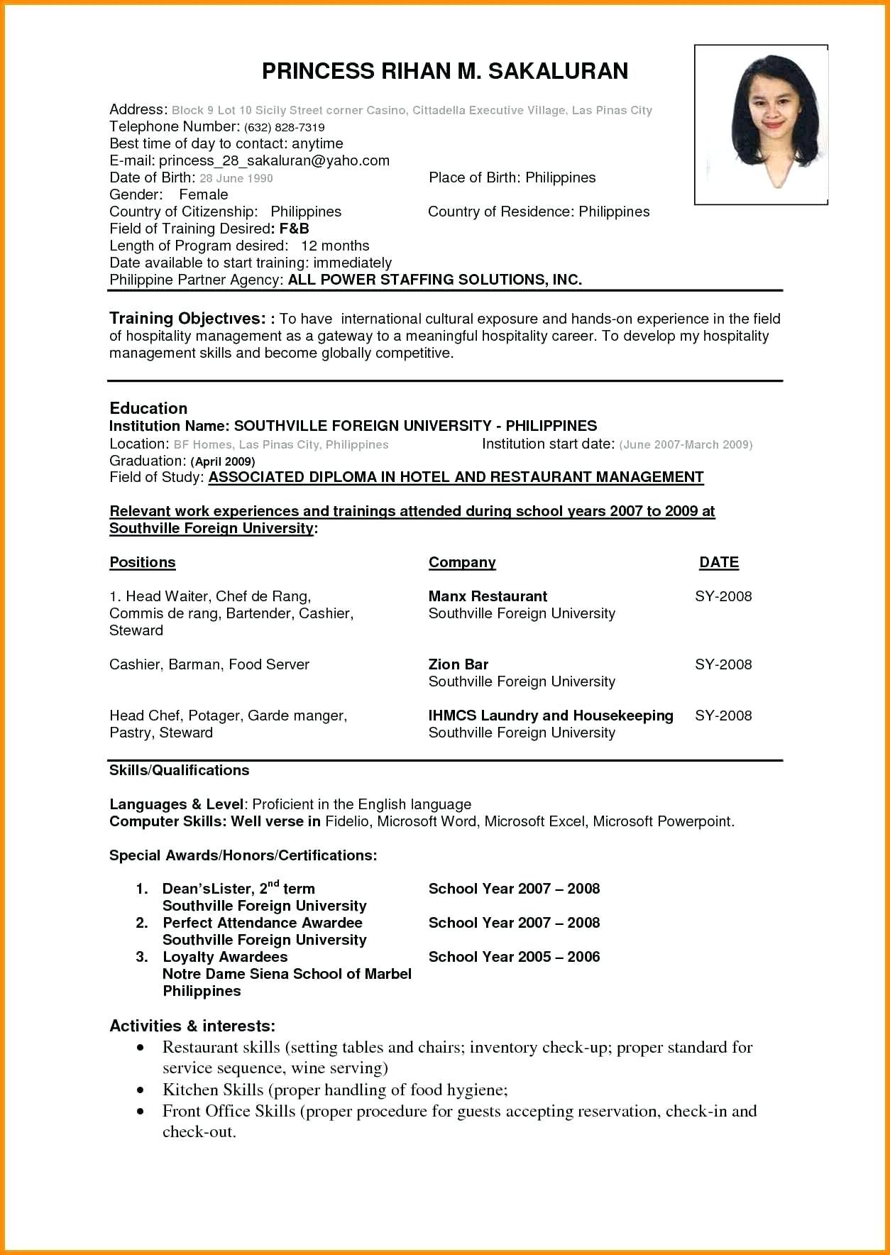 Latest Simple Resume Format Huroncountychamber Com