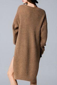 Side Slit V Neck Sweater Dress