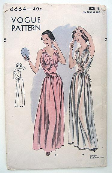 2f5303a5d4e 40s Vogue Pinup Femme Fatale Nightgown Sewing Pattern 6664. Size 18 Factory  Folded