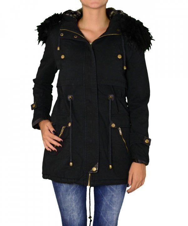 Γυναικείο μακρύ παρκά μαύρο FD180J  χειμωνιατικαμπουφανγυναικεια  εκπτωσεις   προσφορες  womenjacket Parka 04e78992777