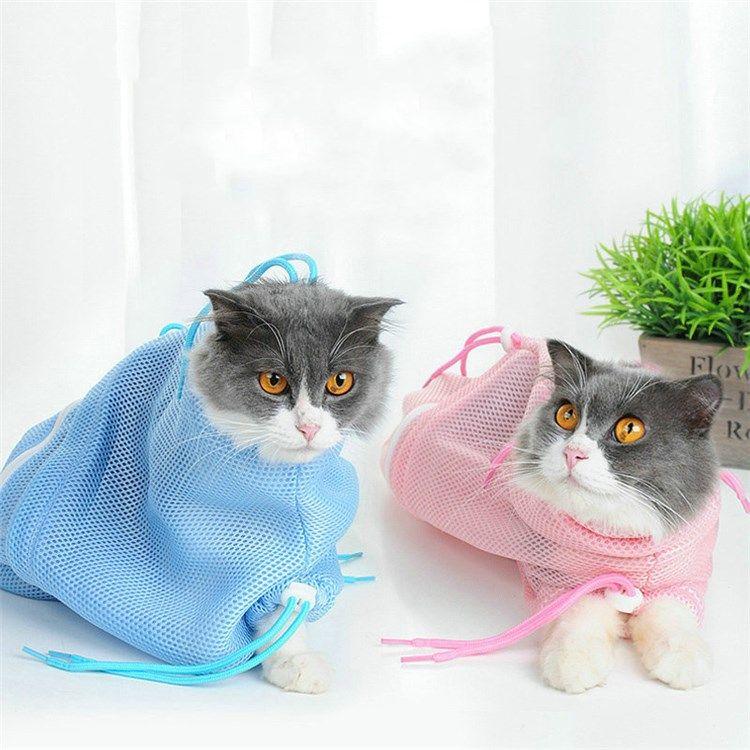 ペット用 シャワーバッグ おちつくネット袋 みのむし袋 スクラッチ防止 お風呂 グルーミングバッグ シャンプー 清潔用品 子猫 ペット ペット 用品