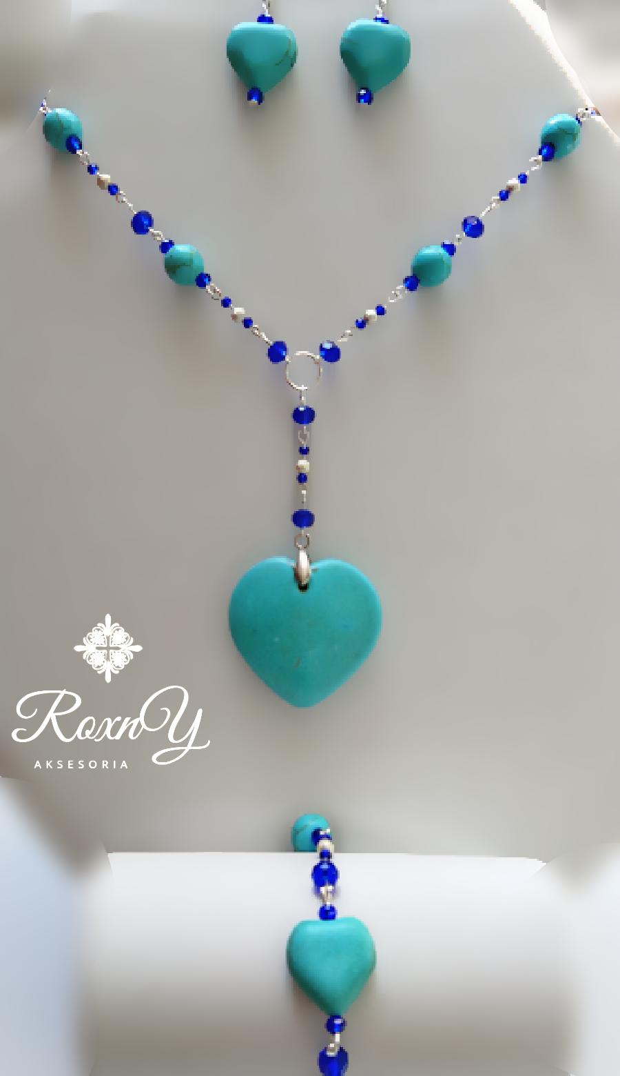 Collar Turquesa Corazón Para Mujer Pulsera Aretes Aretes Piedra Turquesa Collar De Colores