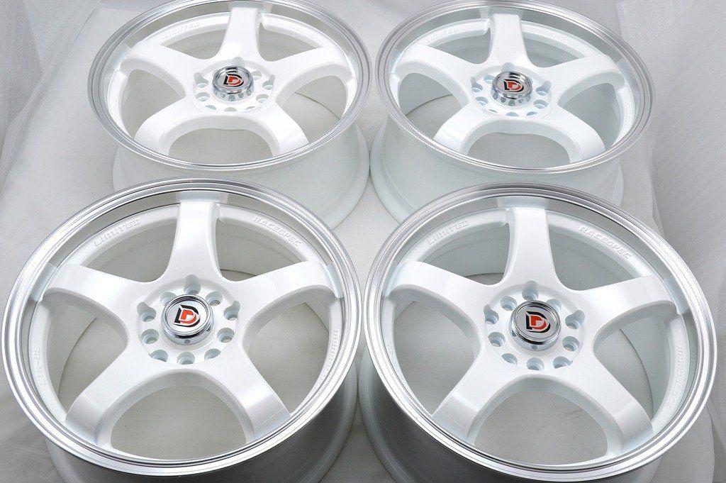 60 Wheels Rims Ddr Fuzion White With Polished Lip Finish 60x6060 Best 5x108 Bolt Pattern