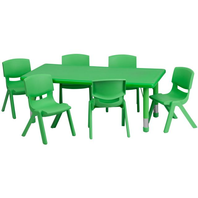 Flash Furniture x Adjustable Rectangular Plastic Activity Table Set in Multiple Colors with 6 School Stack Chairs Green  sc 1 st  Pinterest : toddlers chair and table set - pezcame.com