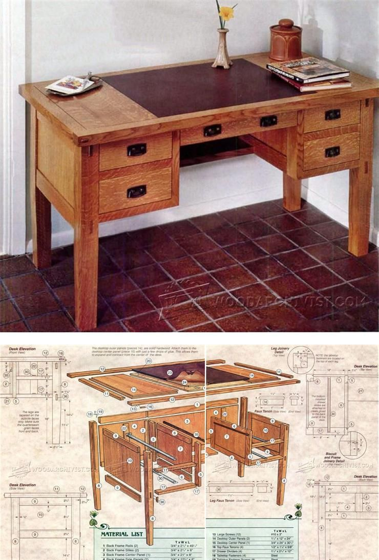 Arts and crafts furniture plans - Arts And Crafts Desk Plans Furniture Plans And Projects Woodarchivist Com