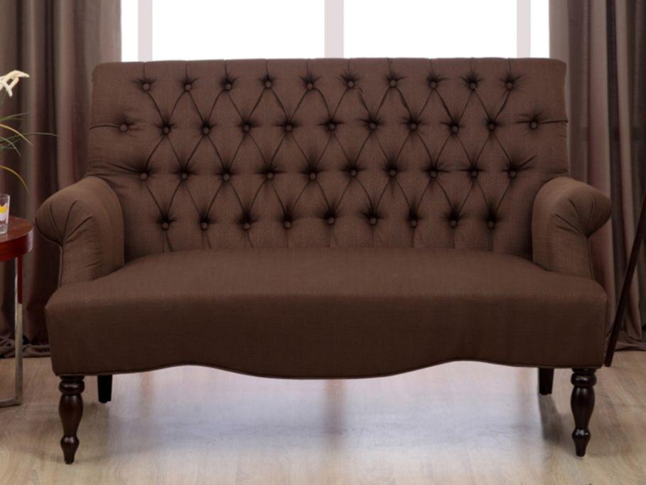 2-Sitzer-Sofa Stoff Barock Manifia - Braun günstig kaufen Möbel - wohnzimmermöbel günstig online kaufen