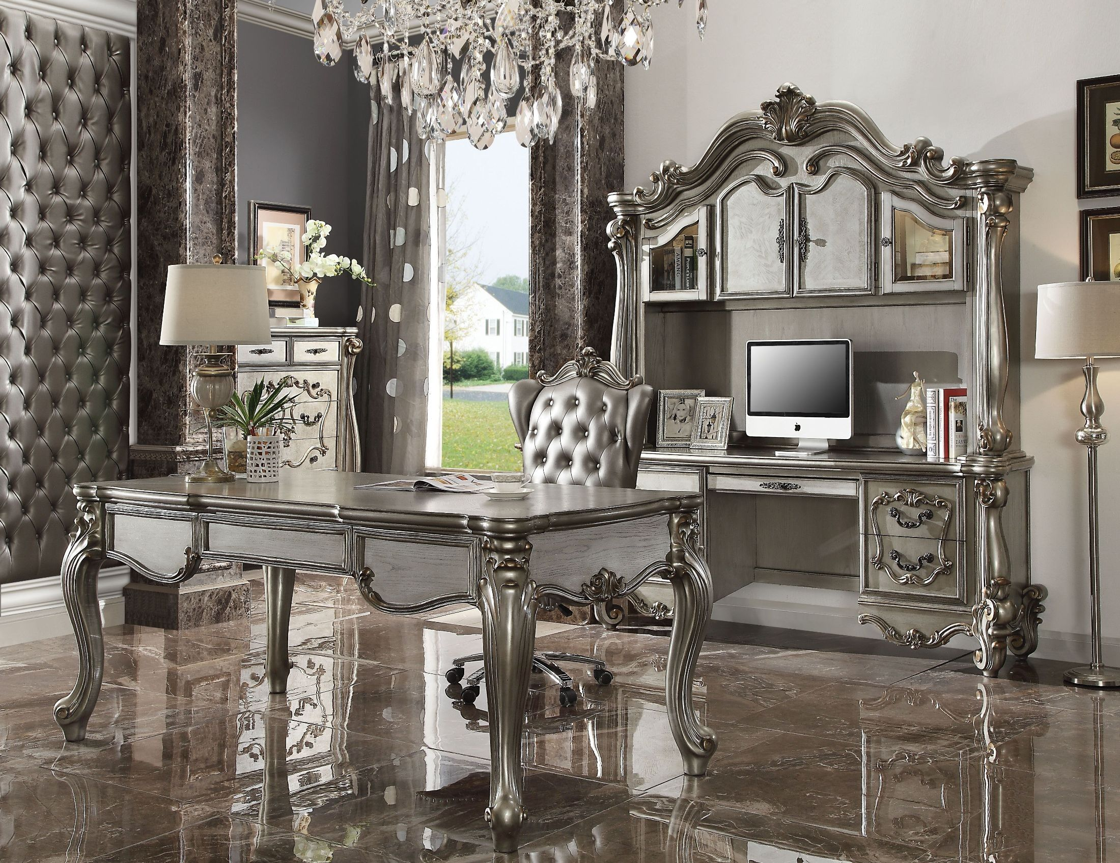 Versailles Antique Platinum Executive Leg Desk Executive Desk Set Acme Furniture Furniture