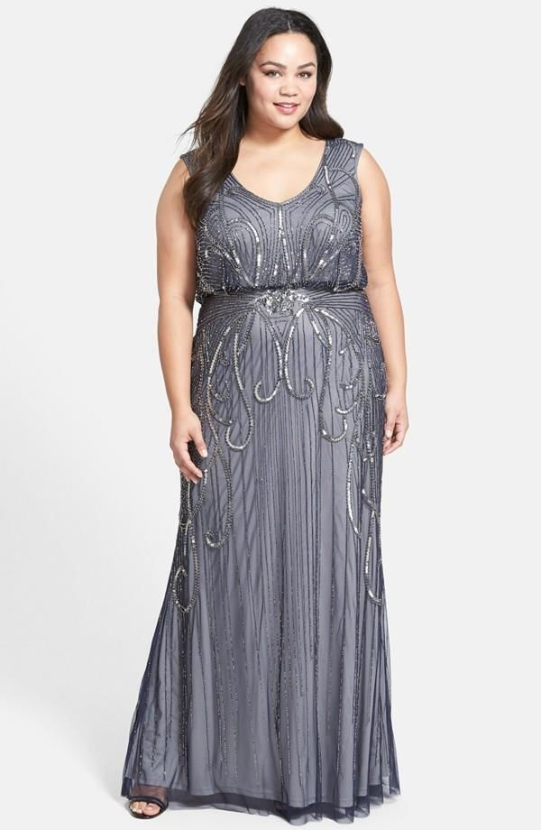 5bc4807fb07 Adrianna Papell Beaded Blouson Gown – Size 22W (Plus Size)