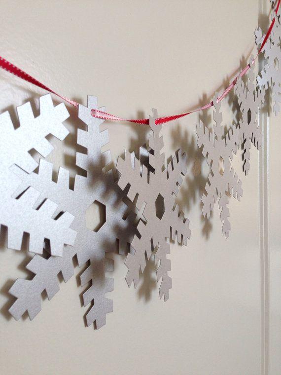 Silver Snowflake Garland On Reversible Ribbon Holiday