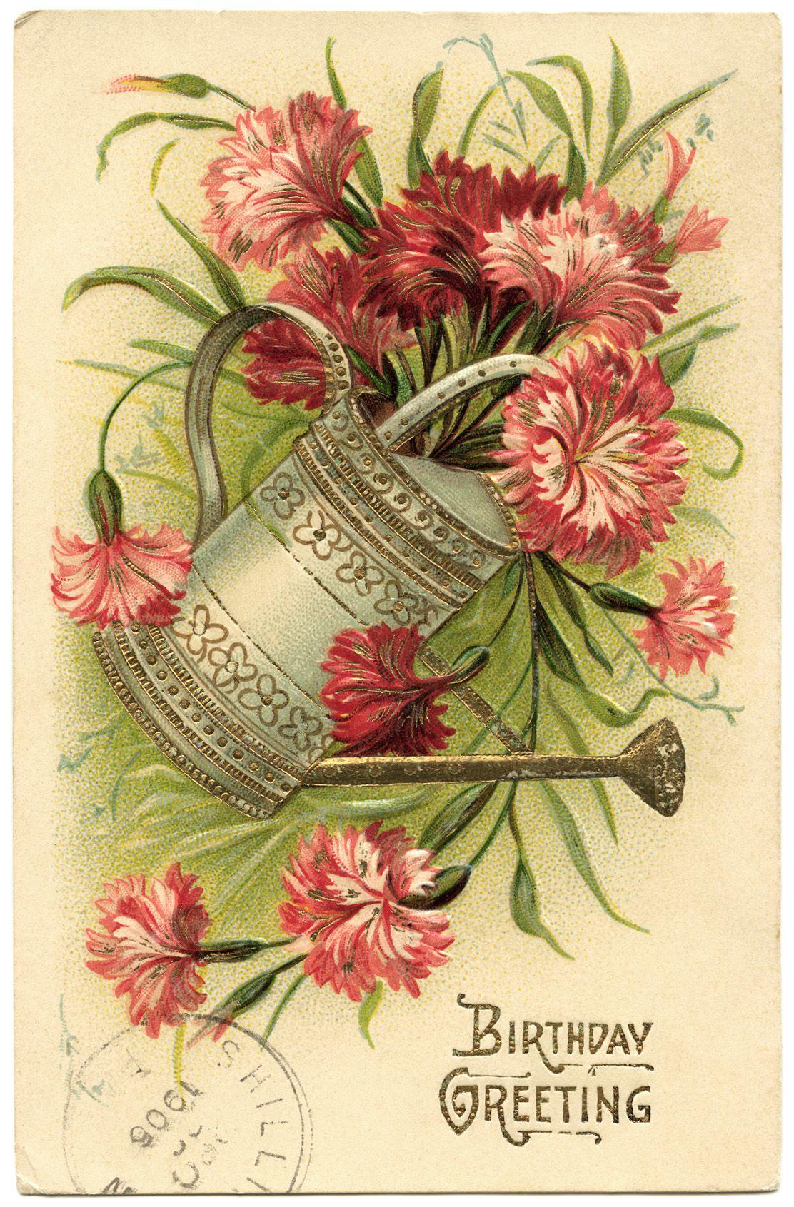 Free Digital Image Vintage Birthday Greeting Postcard Old Design