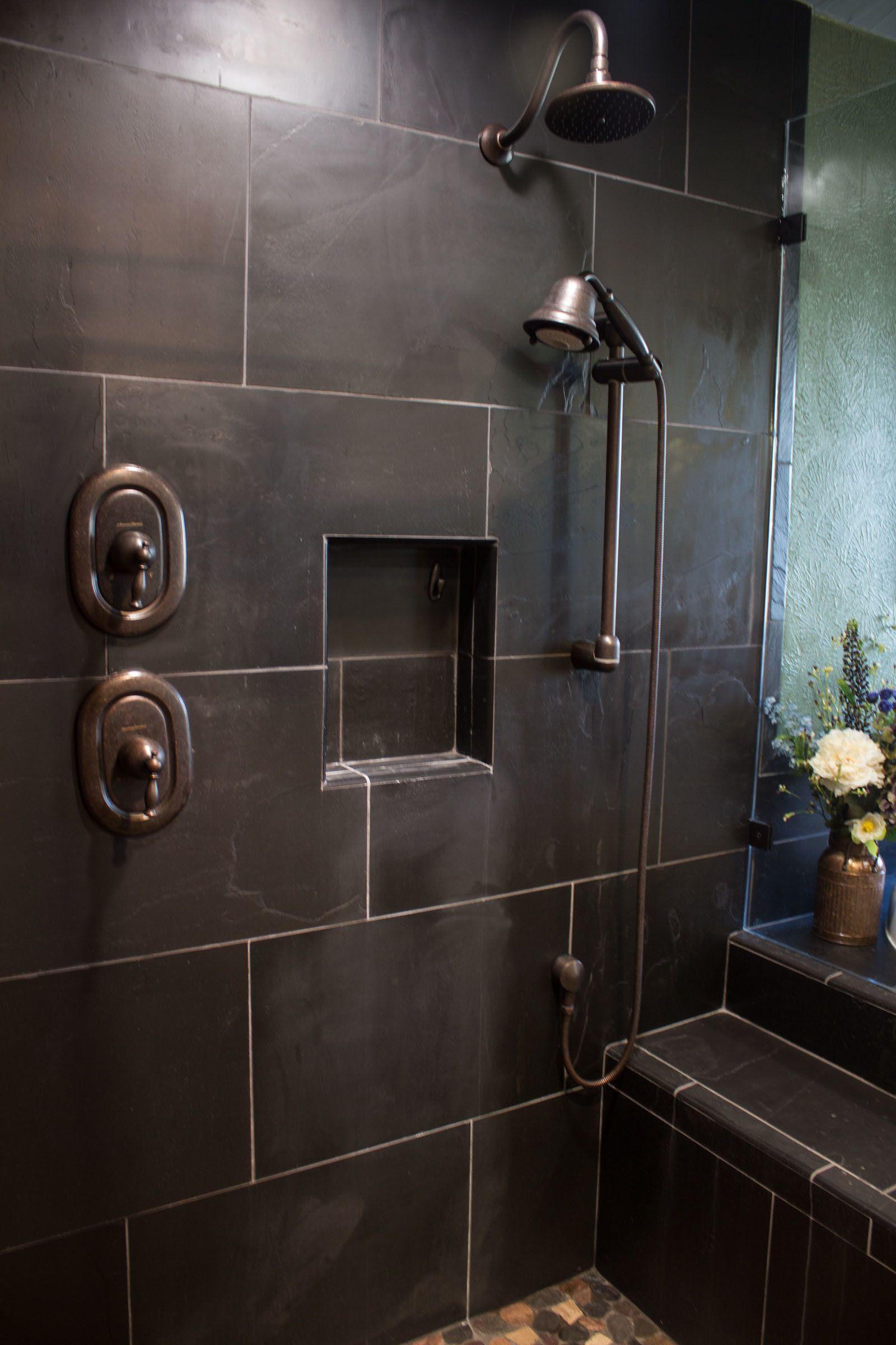 Slate Shower Wall Copper Heads