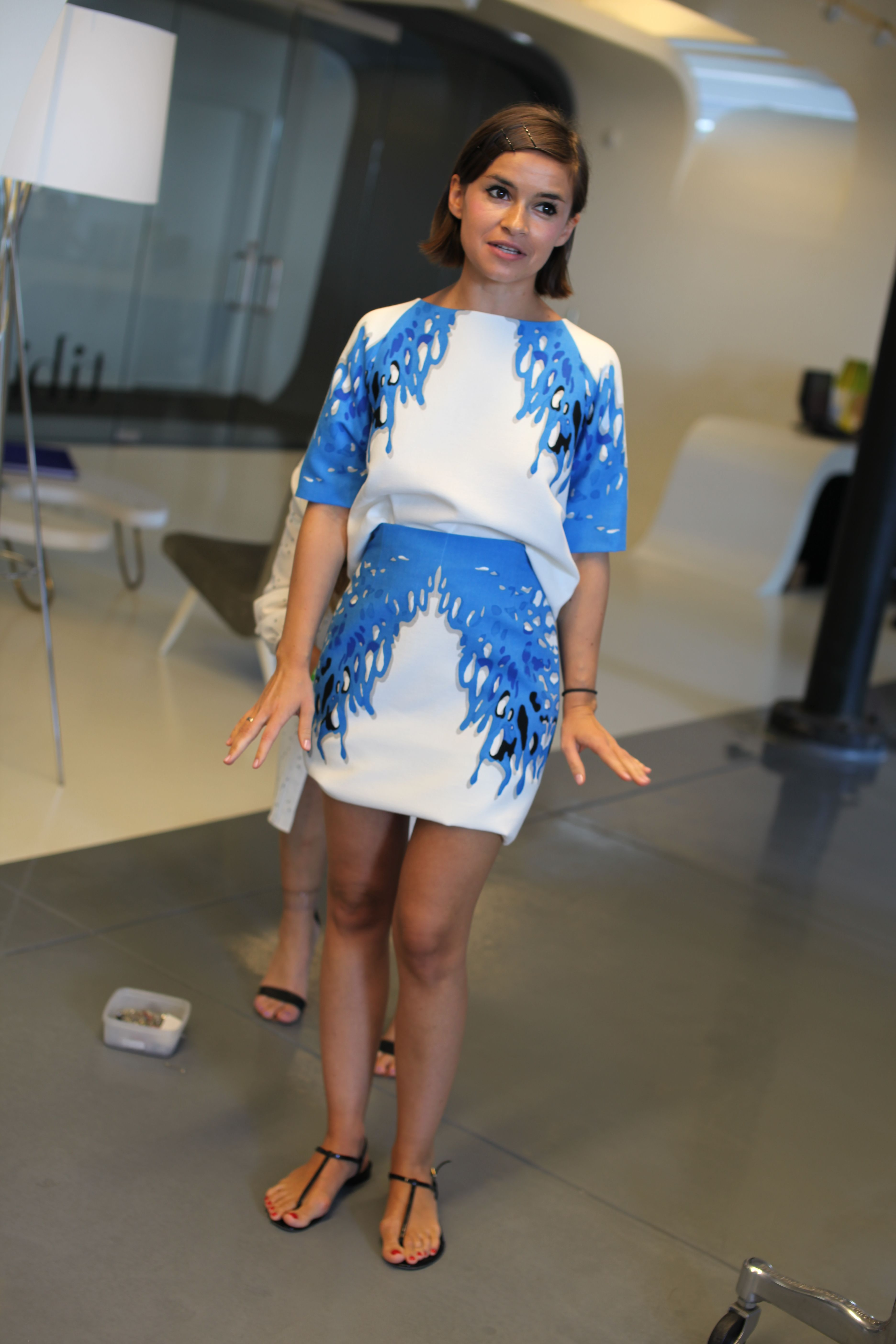 Miroslava Duma tries on one of her favorite looks