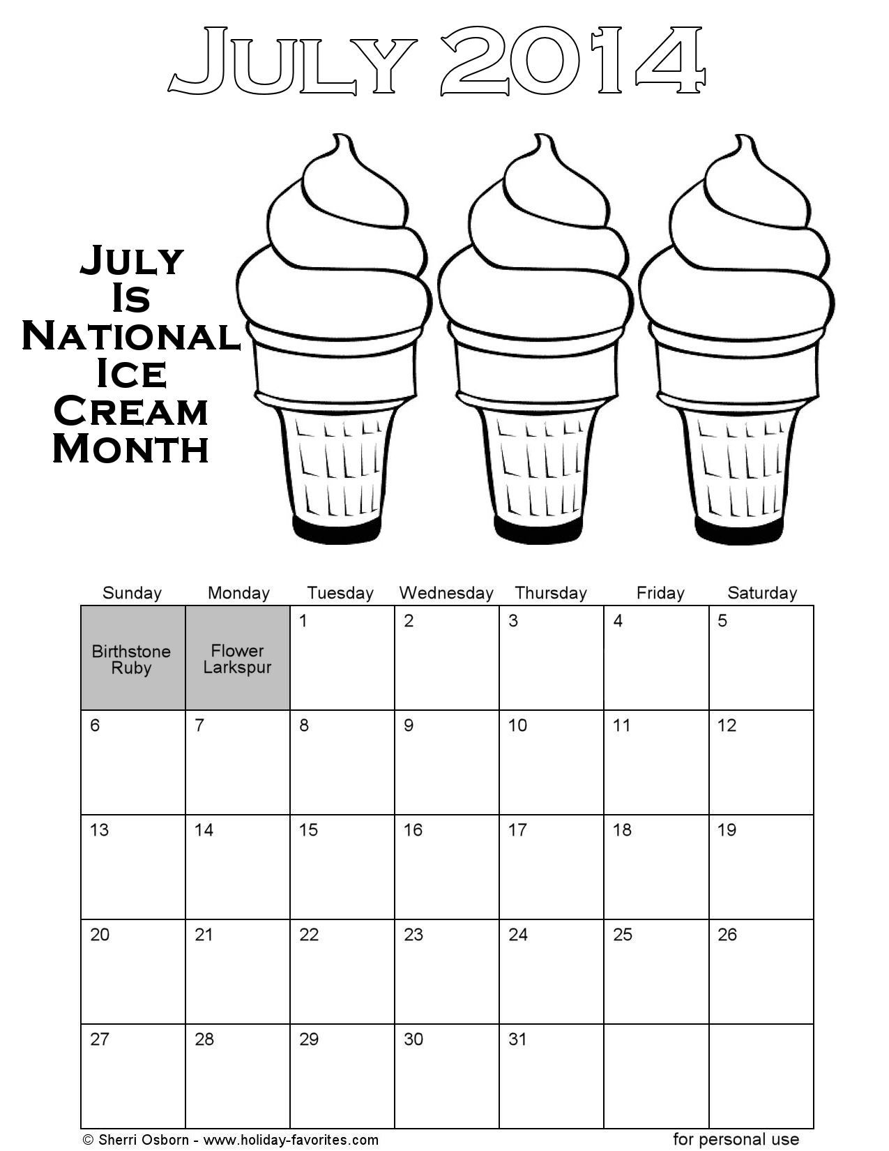 Choose From 5 Downloadable Calendar Pages For The Month Of July