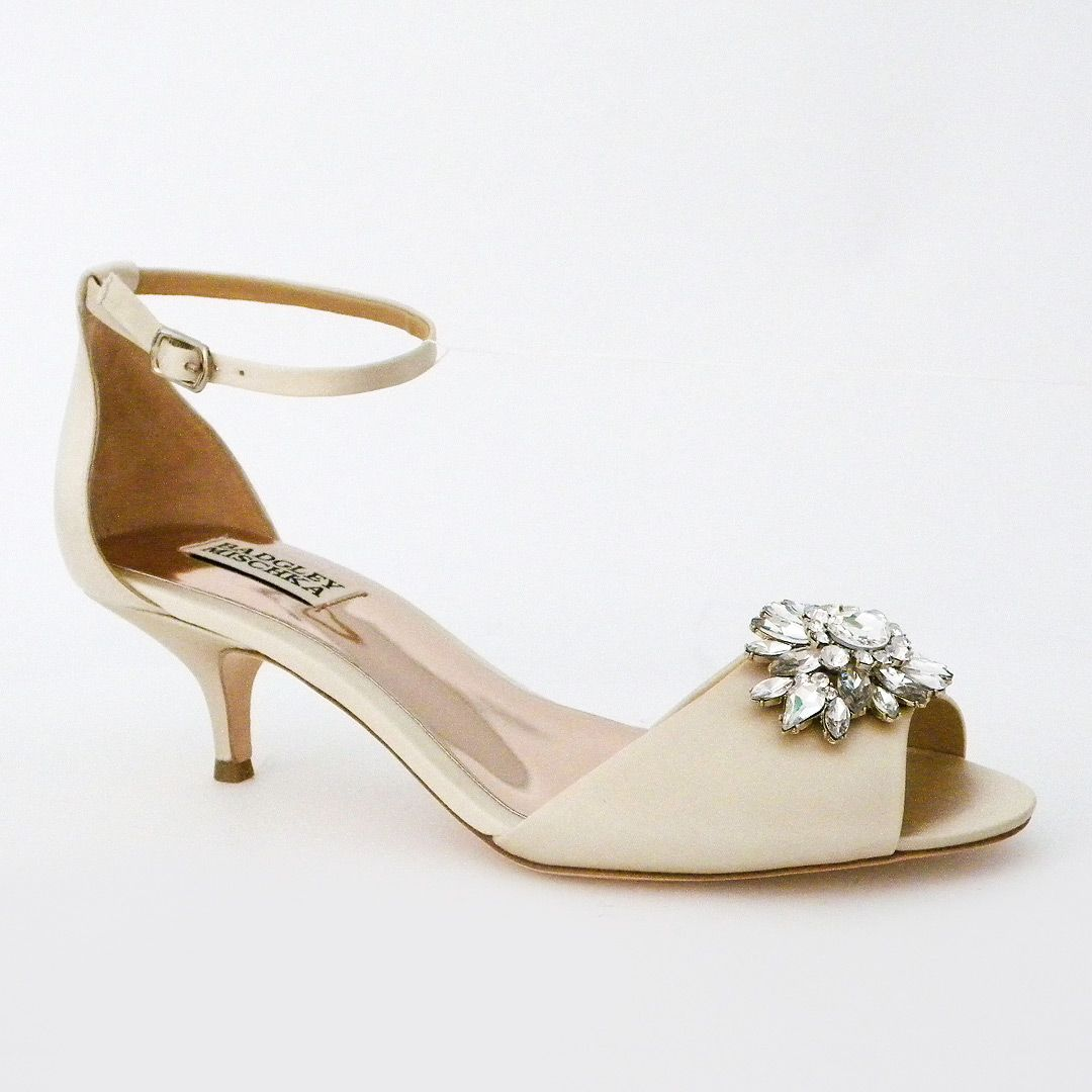 Badgley Mischka Shoes Sainte Ivory Kitten Heel Wedding Shoes Kitten Heel Wedding Shoes Ivory Wedding Shoes Low Heel Bridal Shoes Low Heel