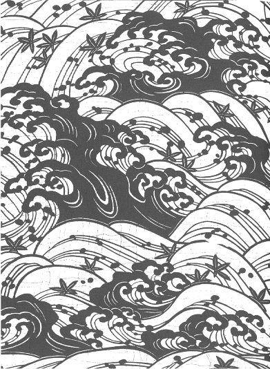 Japanese stencil - waves Ideas for Stencils in 2019 Stencil