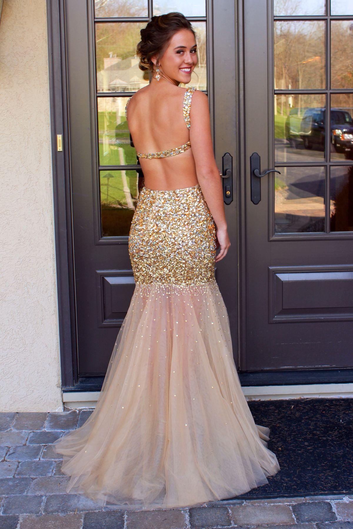 Beaded prom dressmermaid prom dressbackless prom dressfashion