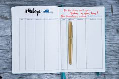 business bullet journal mileage tracker planner addiction