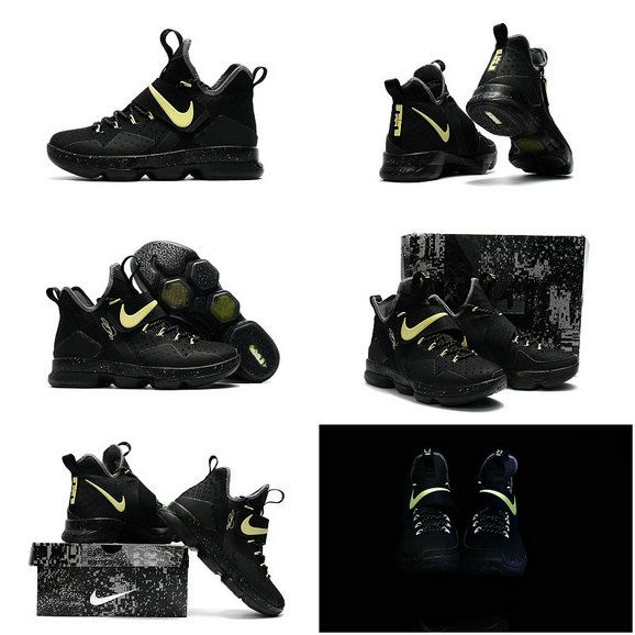new products 751ab 7c4db Free Shipping Only 69  LeBron 14 XIV Black Gold 2017 Lebron James Shoes Glow  In
