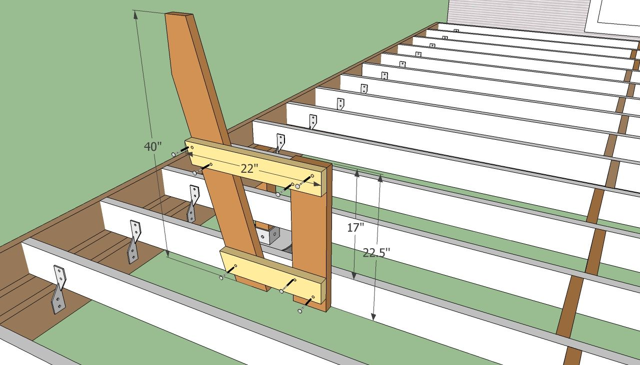Outdoor deck plans deck bench plans free for Porch construction drawings