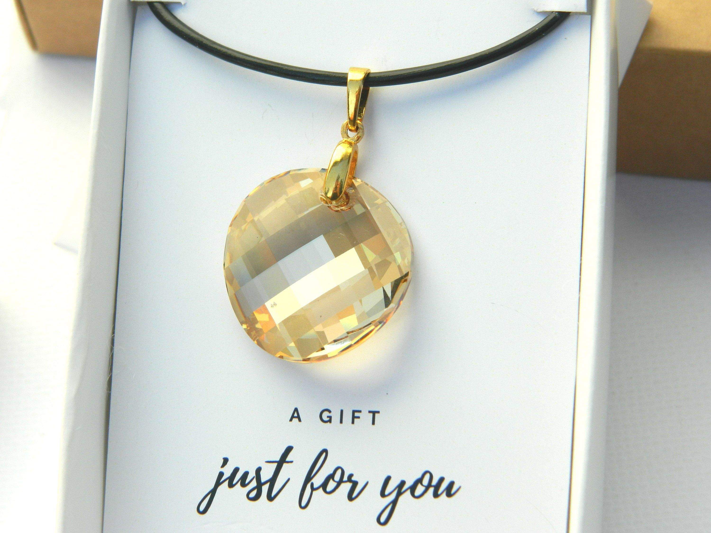 Golden Swarovski Crystal Choker Necklace Sister In Law Christmas Gift Round Pendant Jewelry 30th Birthday