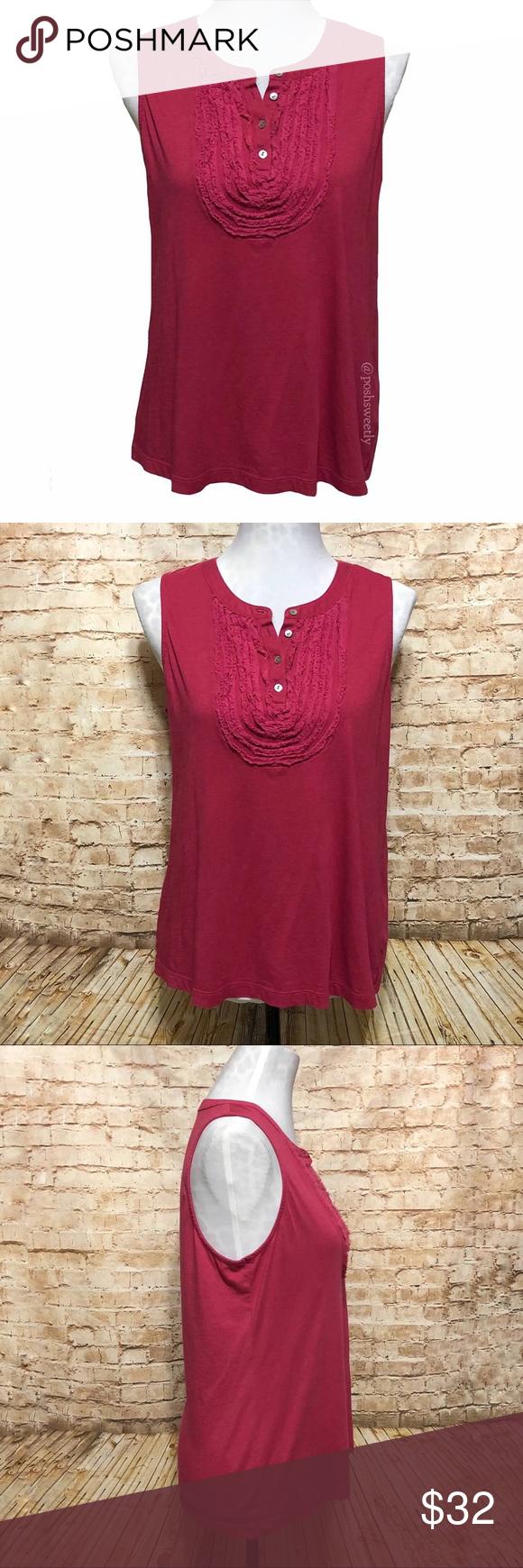 617566a7fb90af J.Jill Silk   Cotton Bib Knit Tank Beautiful hot pink   magenta colored  sleeveless