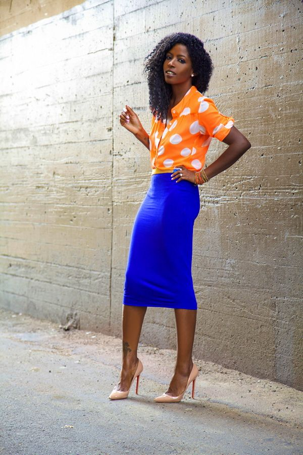 Style Pantry | Orange Polka Dot Shirt   Blue Pencil Skirt Minus ...