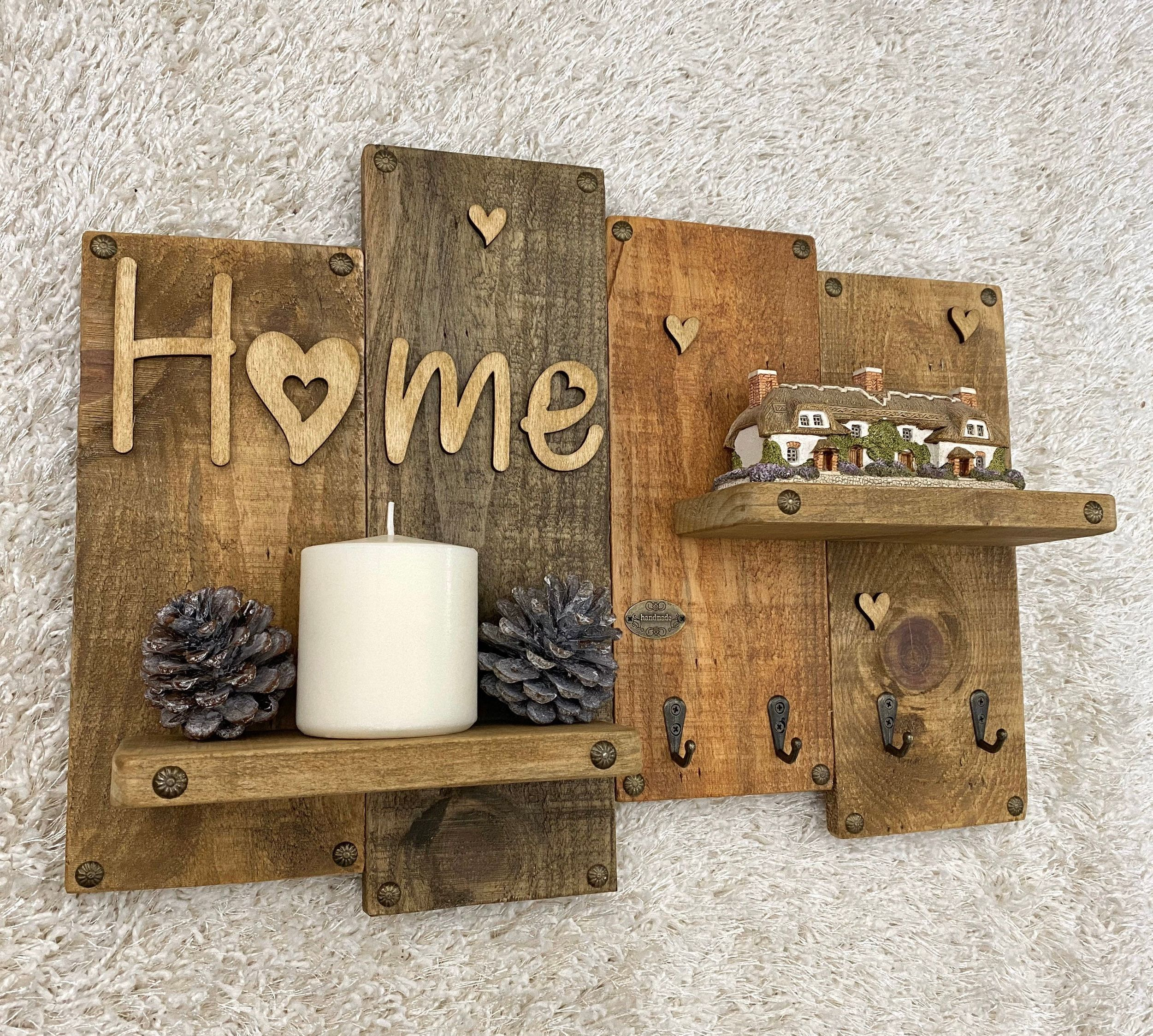 Handmade Wooden Shelf Key Holder Organiser Home Hook Tack Rustic Farmhouse Decor Art Vintage In 2020 Handmade Wooden Rustic Farmhouse Decor Wooden Shelves