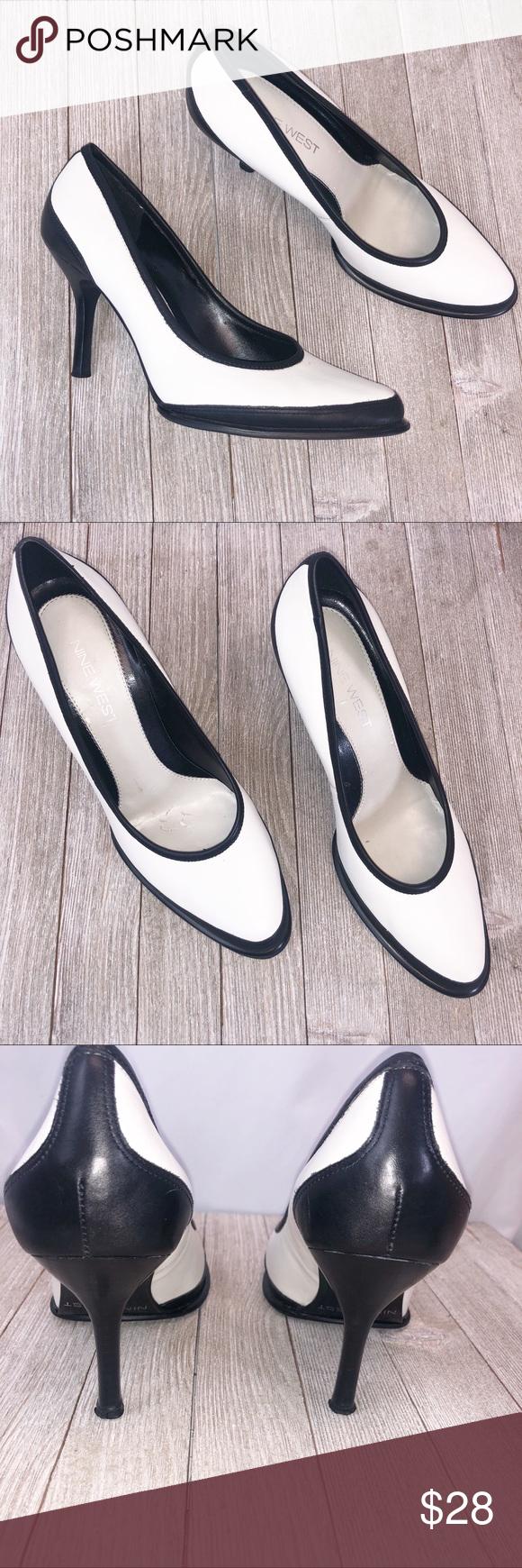 Nine West White Pumps Sz 8 Shoes women heels, White
