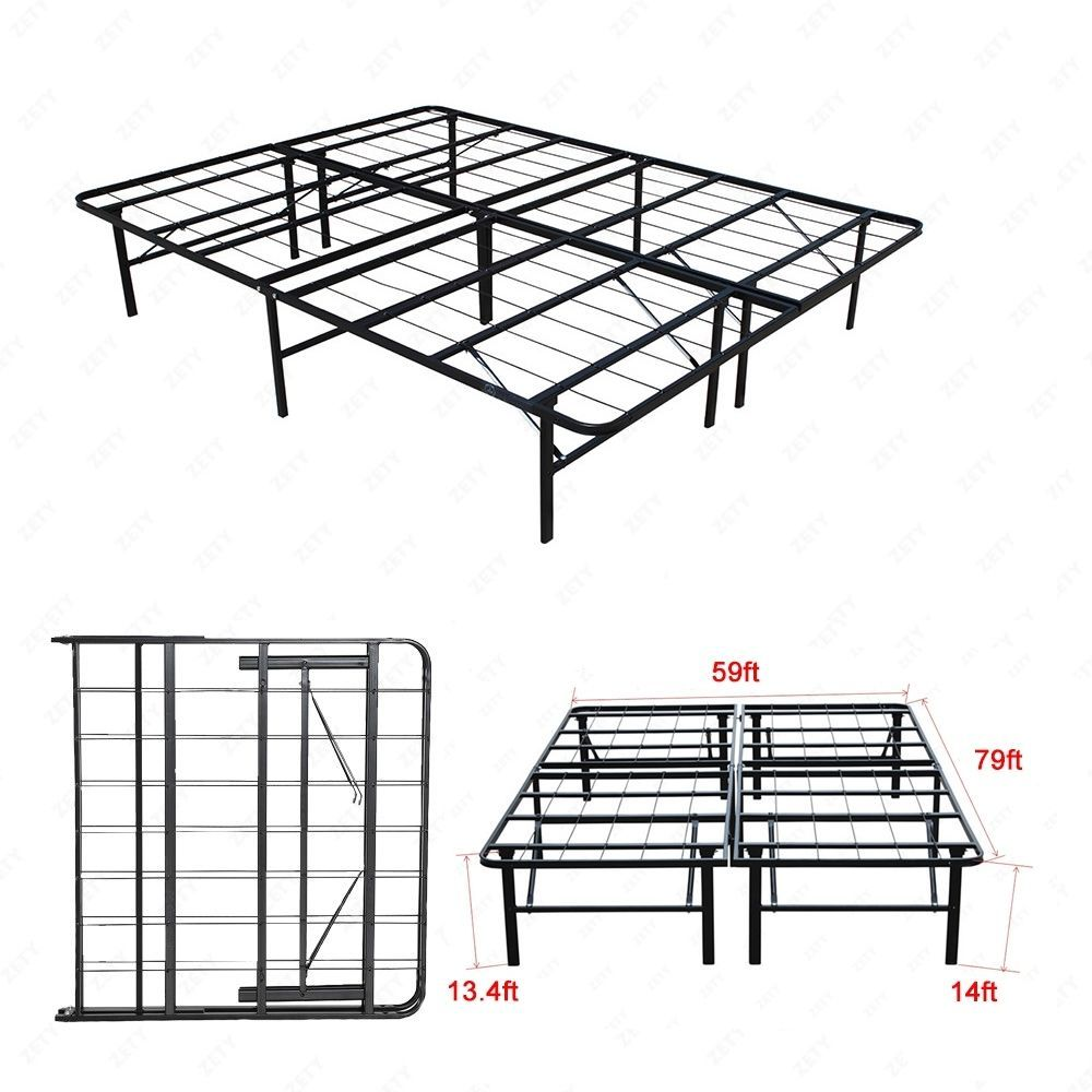 - Modern Queen Size Bi-Fold Folding Platform Metal Bed Frame