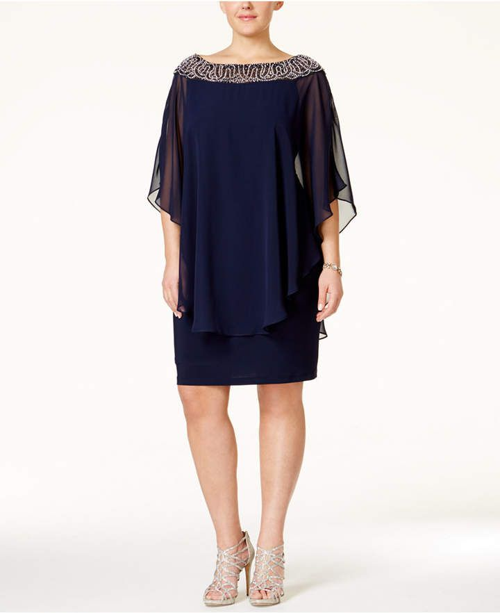 Xscape Evenings Plus Size Beaded Chiffon Capelet Dress In