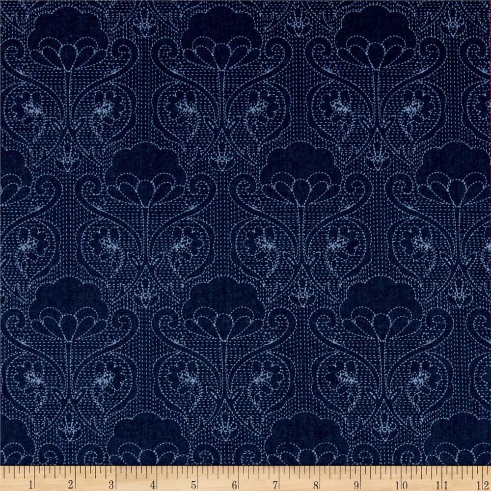 Alexander henry indochine kakomi kanji tea discount designer fabric - Art Gallery Denim Print Stitched Ochi From Fabricdotcom From Art Gallery Fabrics This