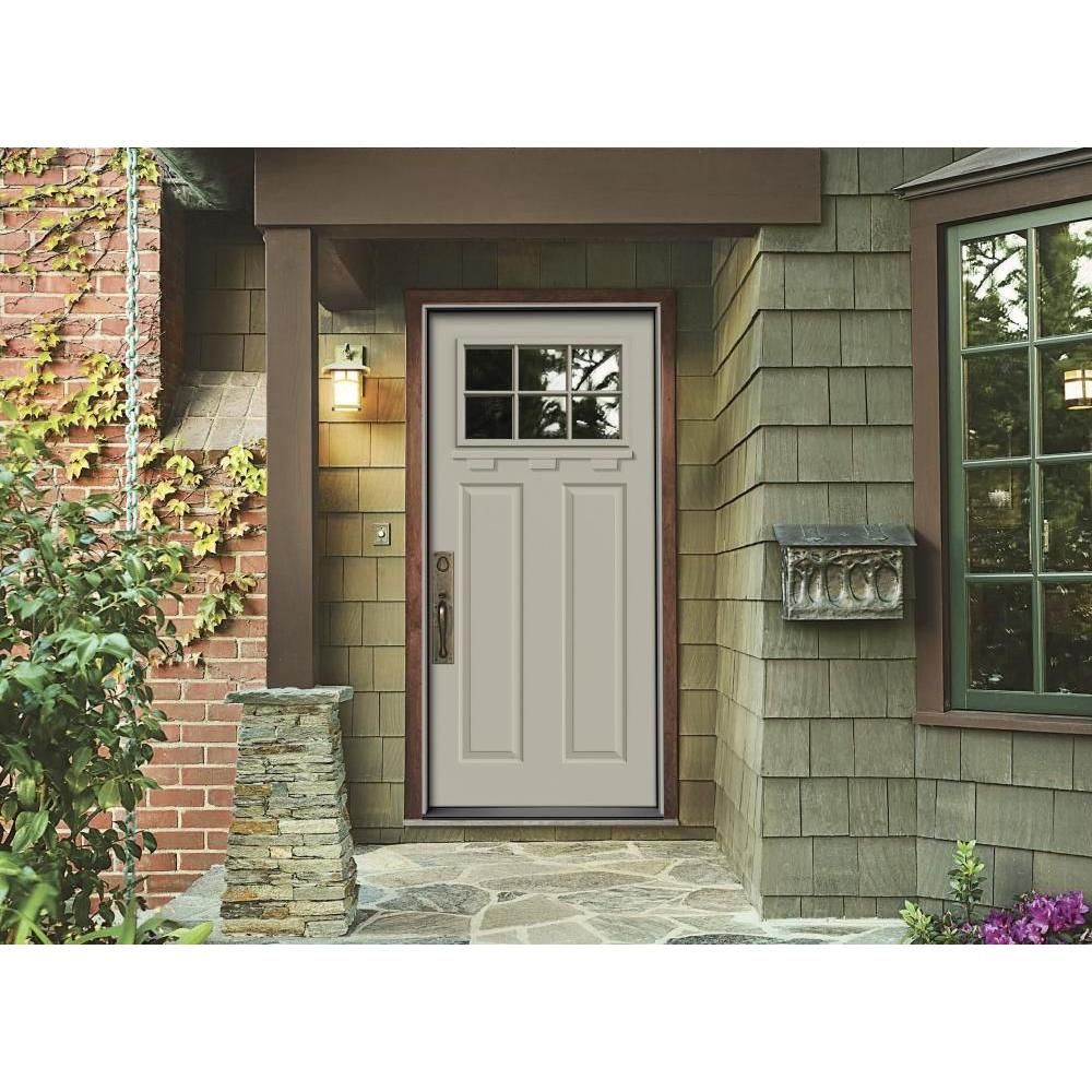 Beautiful JELD WEN Premium 6 Lite Primed White Steel Prehung Front Door With Brickmold