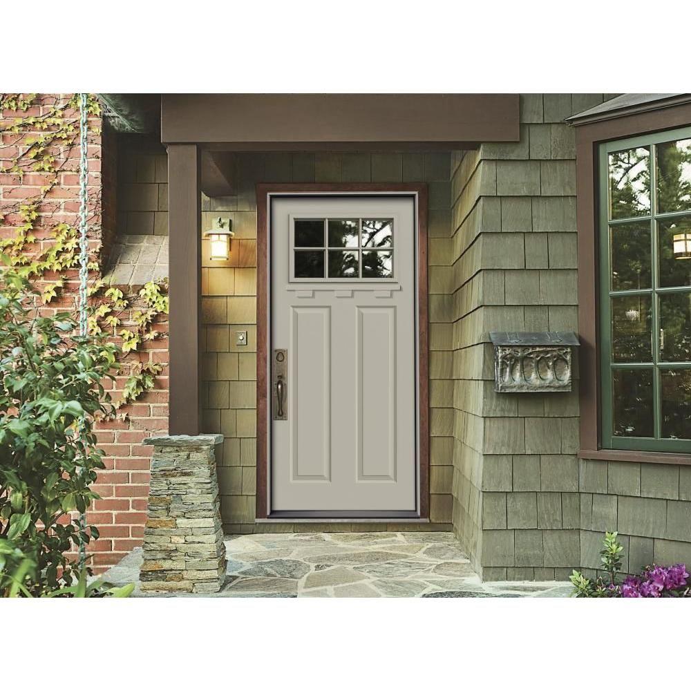 Jeld wen 36 in x 80 in craftsman primed right hand inswing 6 jeld wen premium 6 lite primed white steel prehung front door with brickmold rubansaba