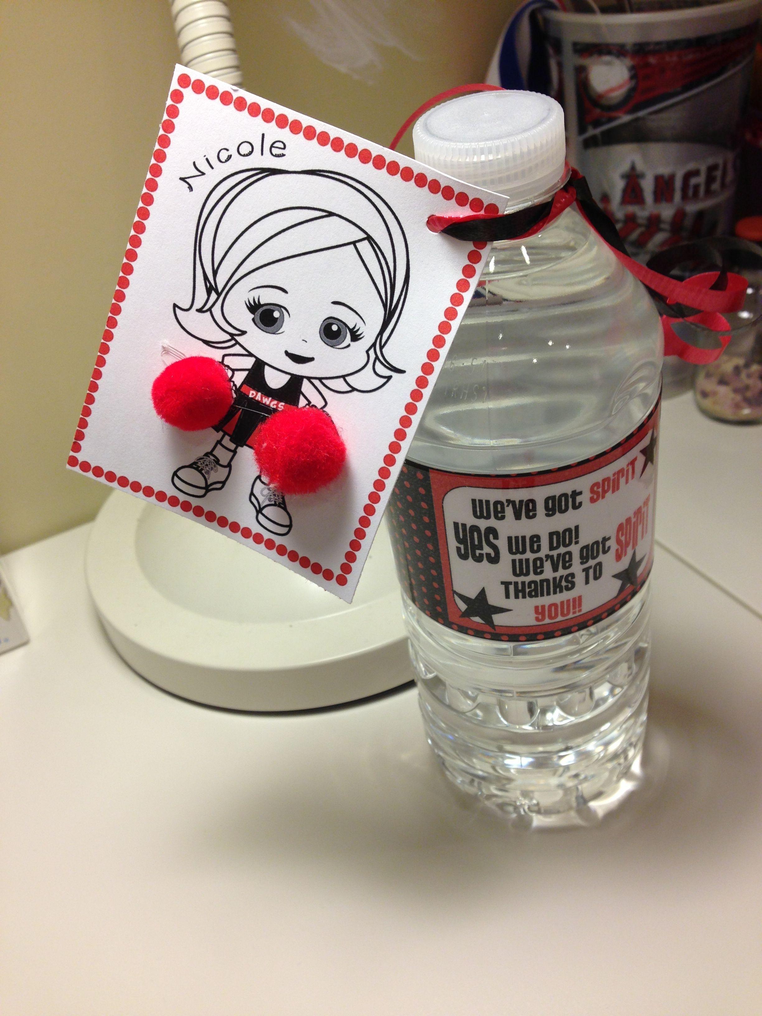 Cheerleader water bottles!! | Catering | Pinterest