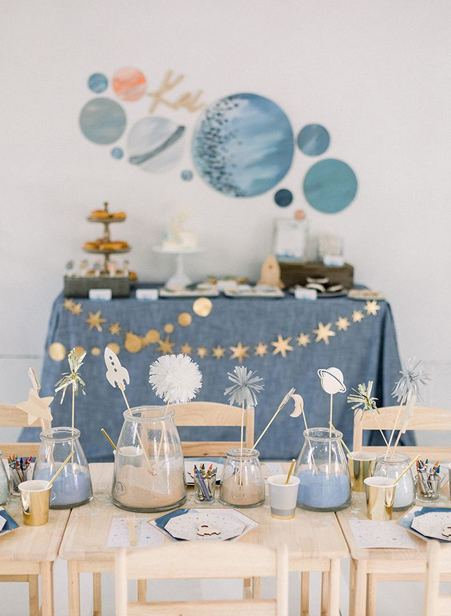 Inspired By This A Galaxy-Blue Outer Space Themed Birthday Party