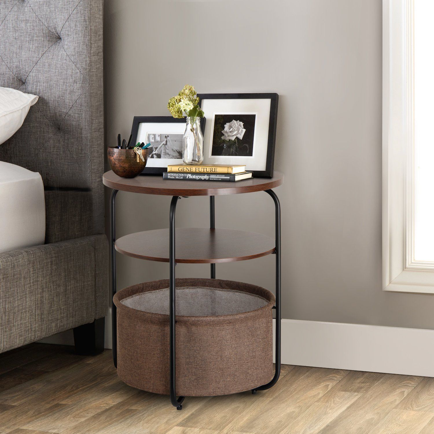 Amazon Com Lifewit 3 Tier Round Side End Table With Storage Basket Nightstand Espress Small Round Side Table Table Decor Living Room End Tables With Storage [ 1500 x 1500 Pixel ]